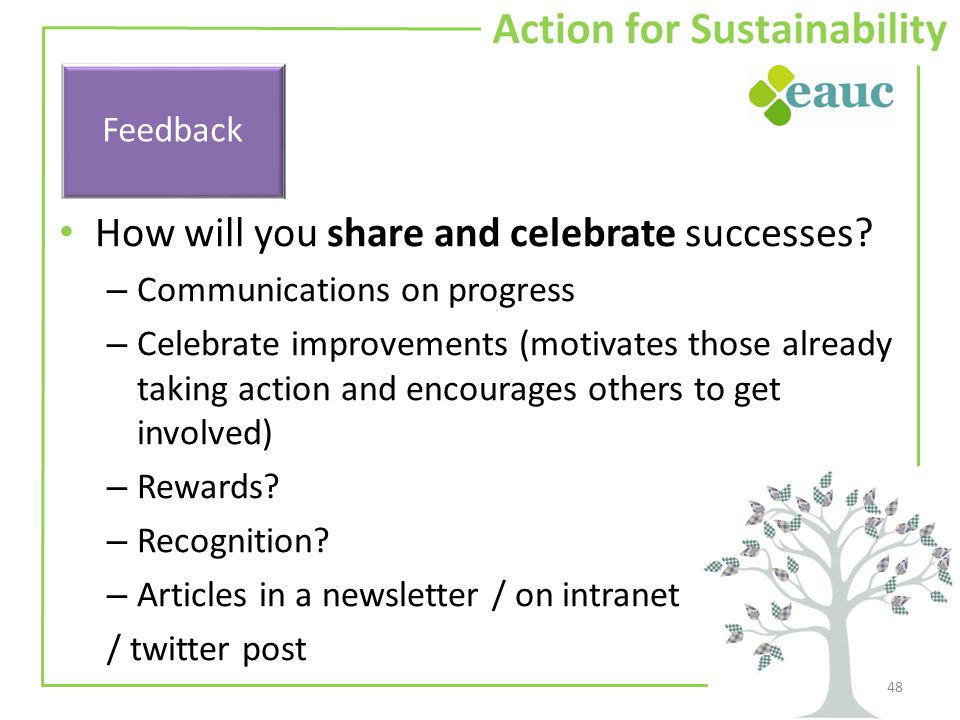 How will you share and celebrate successes.