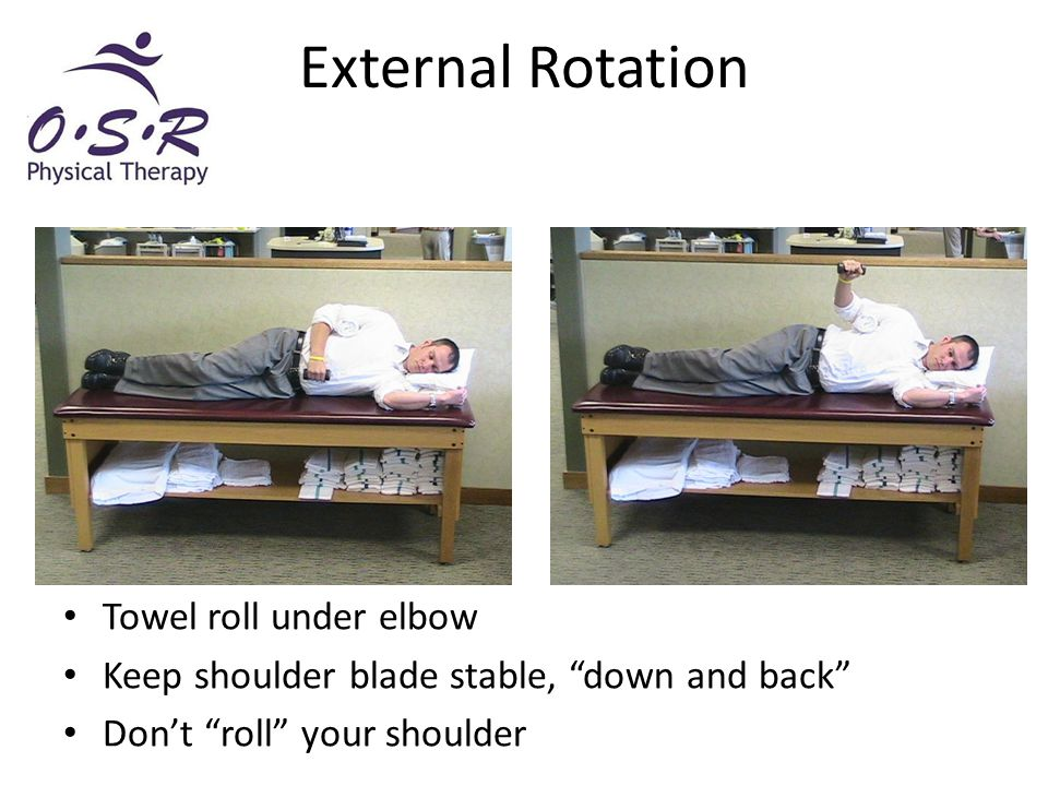 """External Rotation Towel roll under elbow Keep shoulder blade stable, """"down and back"""" Don't """"roll"""" your shoulder"""