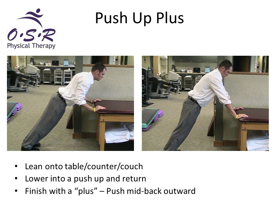 """Push Up Plus Lean onto table/counter/couch Lower into a push up and return Finish with a """"plus"""" – Push mid-back outward"""