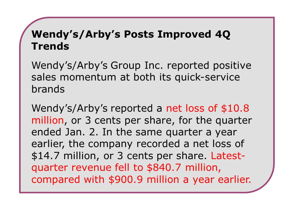 Wendy's/Arby's Posts Improved 4Q Trends Wendy's/Arby's Group Inc. reported positive sales momentum at both its quick-service brands Wendy's/Arby's rep
