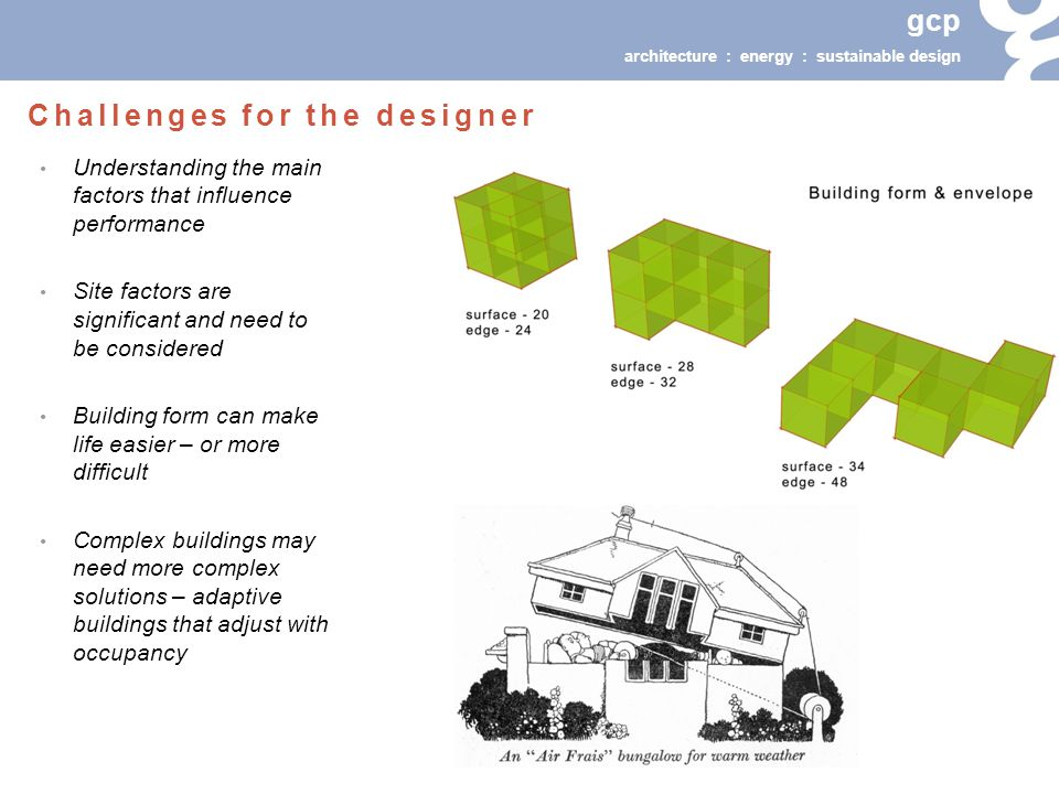 gcp architecture : energy : sustainable design Understanding the main factors that influence performance Site factors are significant and need to be considered Building form can make life easier – or more difficult Complex buildings may need more complex solutions – adaptive buildings that adjust with occupancy Challenges for the designer