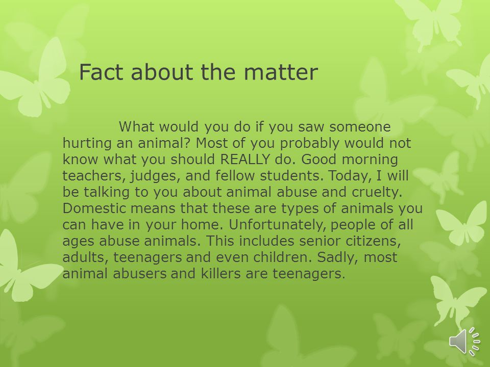 The animal treatment (abuse) By: triniti Farris 8 th grade Bonneville ky