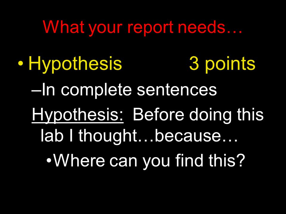 What your report needs… Hypothesis 3 points –In complete sentences Hypothesis: Before doing this lab I thought…because… Where can you find this