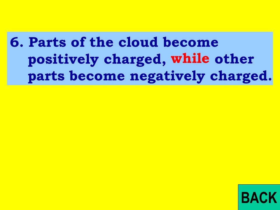 Exercise: 6.Parts of the cloud become positively charged, other parts become negatively charged.
