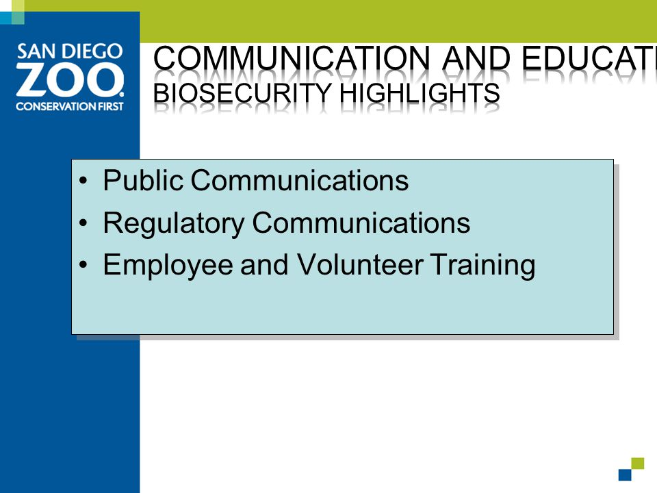 Public Communications Regulatory Communications Employee and Volunteer Training Public Communications Regulatory Communications Employee and Volunteer Training