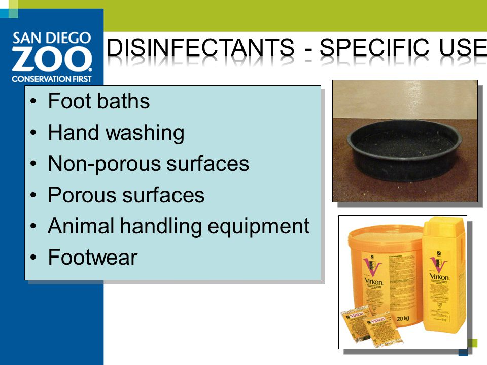 Foot baths Hand washing Non-porous surfaces Porous surfaces Animal handling equipment Footwear Foot baths Hand washing Non-porous surfaces Porous surfaces Animal handling equipment Footwear