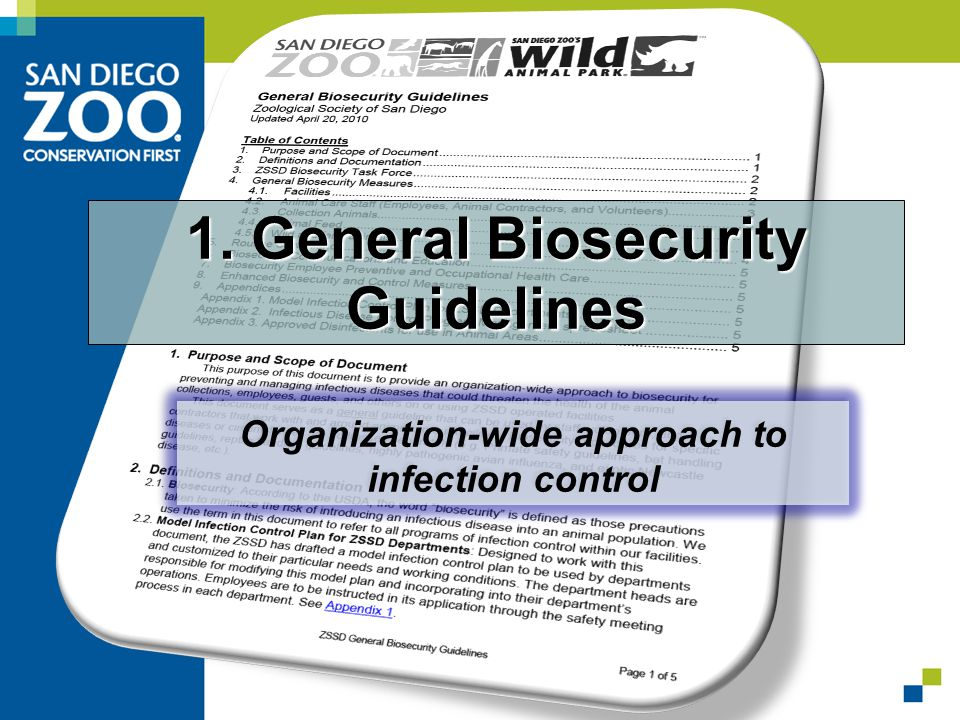 Organization-wide approach to infection control 1. General Biosecurity Guidelines