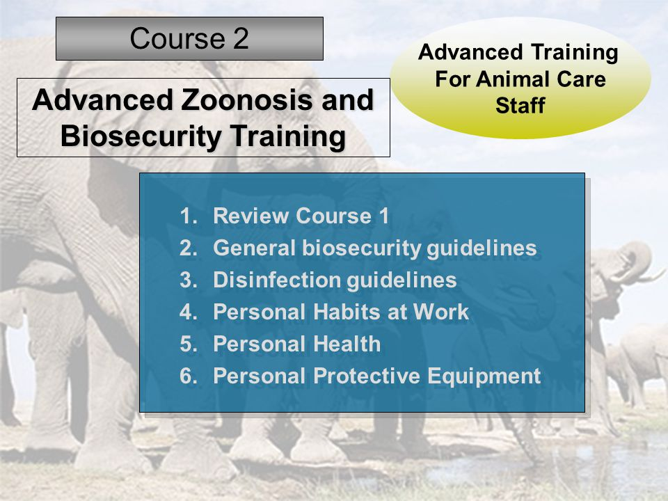 1.Review Course 1 2.General biosecurity guidelines 3.Disinfection guidelines 4.Personal Habits at Work 5.Personal Health 6.Personal Protective Equipment 1.Review Course 1 2.General biosecurity guidelines 3.Disinfection guidelines 4.Personal Habits at Work 5.Personal Health 6.Personal Protective Equipment Advanced Training For Animal Care Staff Course 2 Advanced Zoonosis and Biosecurity Training