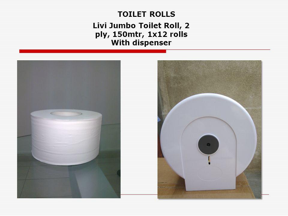 Livi Jumbo Toilet Roll, 2 ply, 150mtr, 1x12 rolls With dispenser TOILET ROLLS