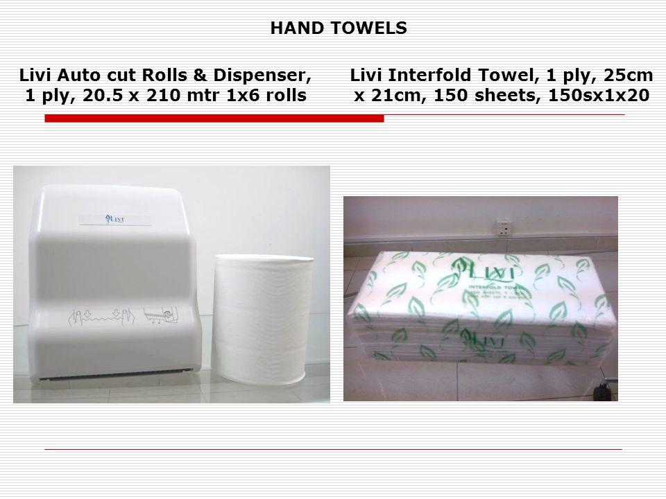 Livi Auto cut Rolls & Dispenser, 1 ply, 20.5 x 210 mtr 1x6 rolls Livi Interfold Towel, 1 ply, 25cm x 21cm, 150 sheets, 150sx1x20 HAND TOWELS