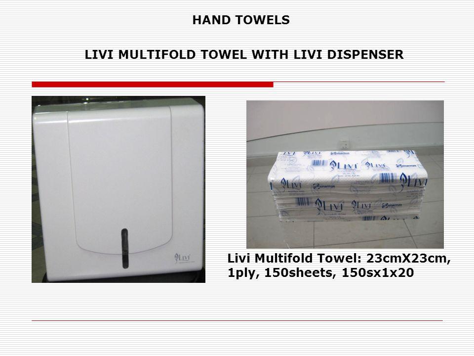 LIVI MULTIFOLD TOWEL WITH LIVI DISPENSER Livi Multifold Towel: 23cmX23cm, 1ply, 150sheets, 150sx1x20 HAND TOWELS