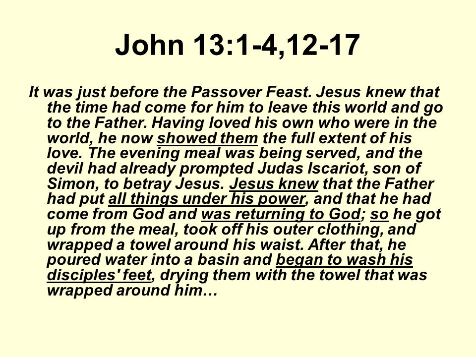 John 13:1-4,12-17 It was just before the Passover Feast.