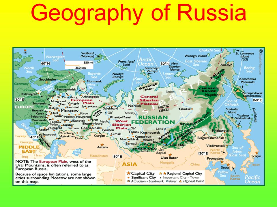 Country Details Land Area The country is approximately 5,592 miles, (9000km) west to east, with a total land area of 17,075,400 sq km, (6,592,812 sq miles) Latitude/Longitude 55º 75N, 37º 62E Land Borders 36,388 miles (58,562 km), with 8,845 miles (14,253 km) bordering countries, and 27,532 miles (44,309 km) bordering oceans and seas.