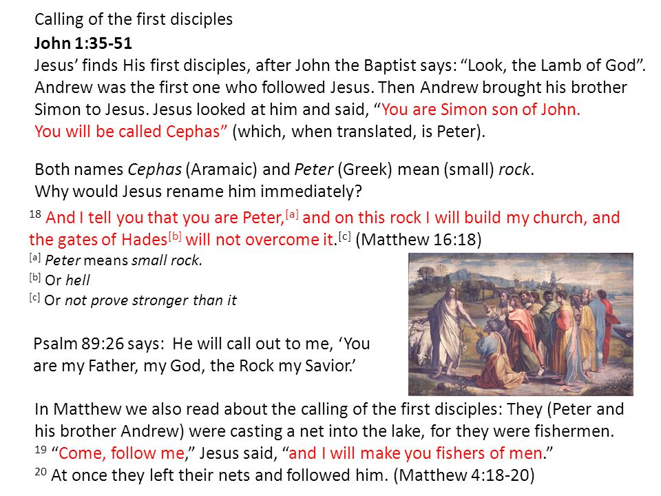 John 1:35-51 Jesus' finds His first disciples, after John the Baptist says: Look, the Lamb of God .