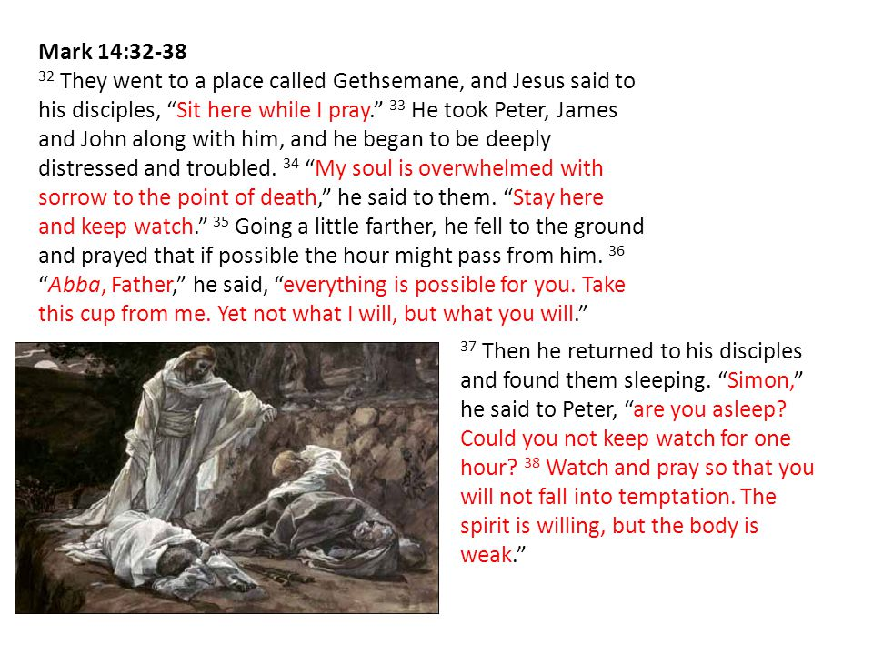 Mark 14:32-38 32 They went to a place called Gethsemane, and Jesus said to his disciples, Sit here while I pray. 33 He took Peter, James and John along with him, and he began to be deeply distressed and troubled.