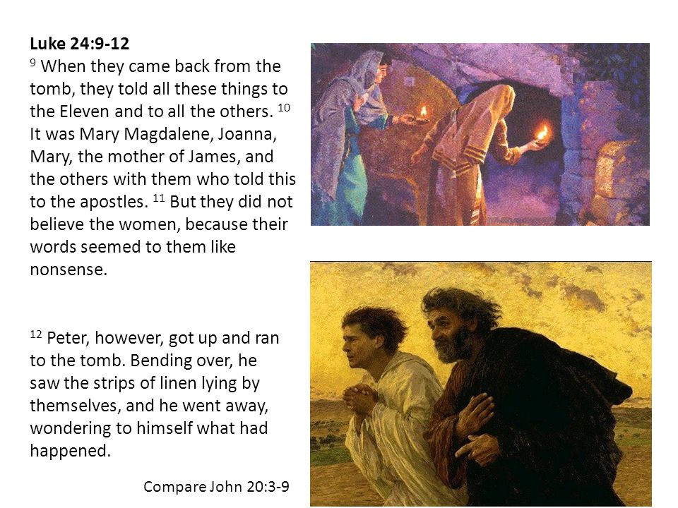 Luke 24:9-12 9 When they came back from the tomb, they told all these things to the Eleven and to all the others.