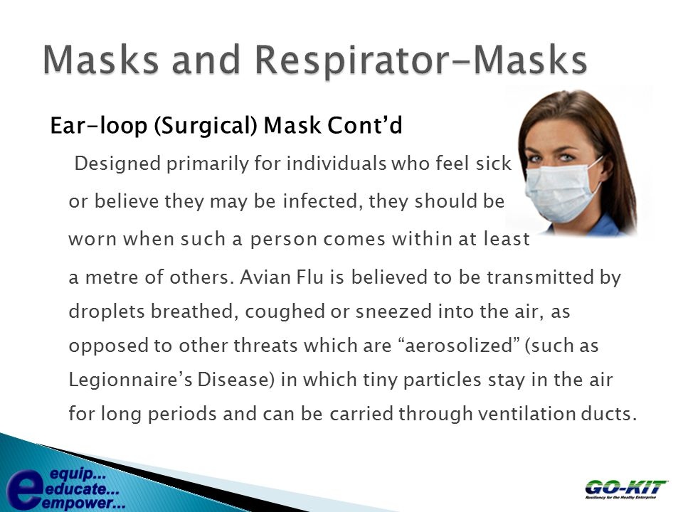 Ear-loop (Surgical) Mask Cont'd Designed primarily for individuals who feel sick or believe they may be infected, they should be worn when such a pers