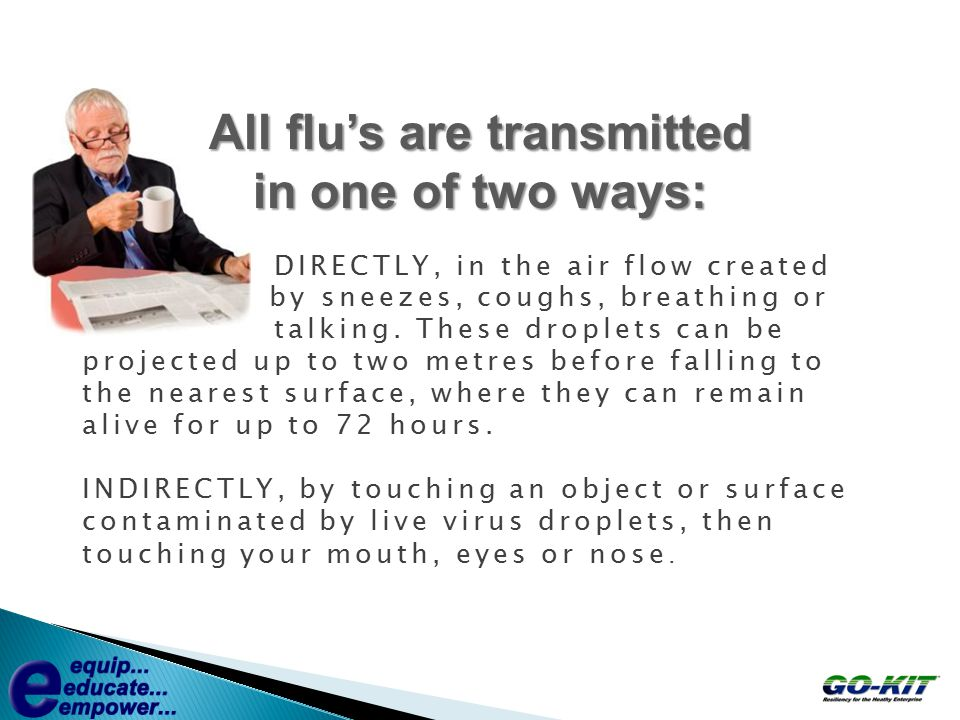 All flu's are transmitted in one of two ways: DIRECTLY, in the air flow created by sneezes, coughs, breathing or talking. These droplets can be projec