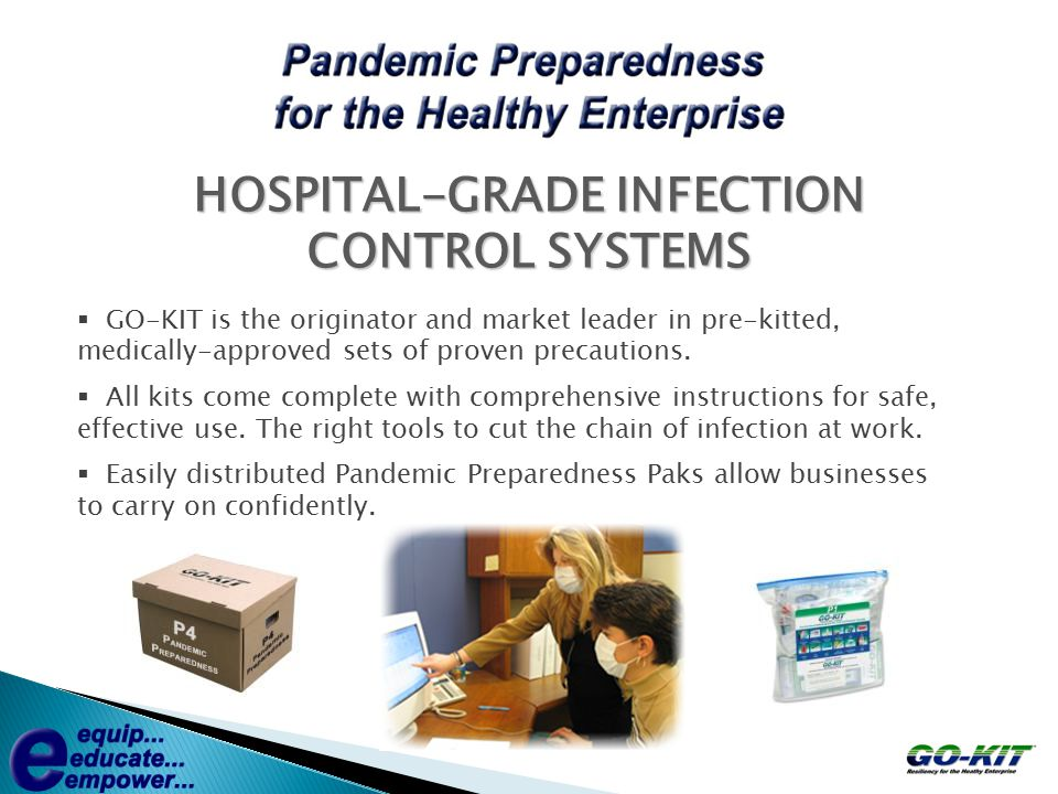  GO-KIT is the originator and market leader in pre-kitted, medically-approved sets of proven precautions.  All kits come complete with comprehensive