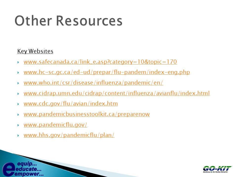 Key Websites  www.safecanada.ca/link_e.asp?category=10&topic=170 www.safecanada.ca/link_e.asp?category=10&topic=170  www.hc-sc.gc.ca/ed-ud/prepar/flu-pandem/index-eng.php www.hc-sc.gc.ca/ed-ud/prepar/flu-pandem/index-eng.php  www.who.int/csr/disease/influenza/pandemic/en/ www.who.int/csr/disease/influenza/pandemic/en/  www.cidrap.umn.edu/cidrap/content/influenza/avianflu/index.html www.cidrap.umn.edu/cidrap/content/influenza/avianflu/index.html  www.cdc.gov/flu/avian/index.htm www.cdc.gov/flu/avian/index.htm  www.pandemicbusinesstoolkit.ca/preparenow www.pandemicbusinesstoolkit.ca/preparenow  www.pandemicflu.gov/ www.pandemicflu.gov/  www.hhs.gov/pandemicflu/plan/ www.hhs.gov/pandemicflu/plan/
