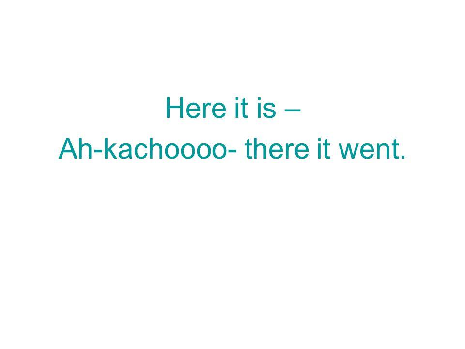 Here it is – Ah-kachoooo- there it went.