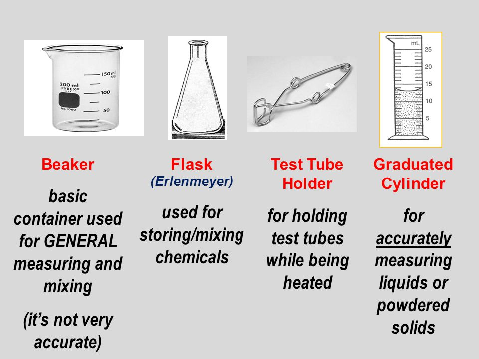 Beaker basic container used for GENERAL measuring and mixing (it's not very accurate) Flask (Erlenmeyer) used for storing/mixing chemicals Test Tube Holder for holding test tubes while being heated Graduated Cylinder for accurately measuring liquids or powdered solids