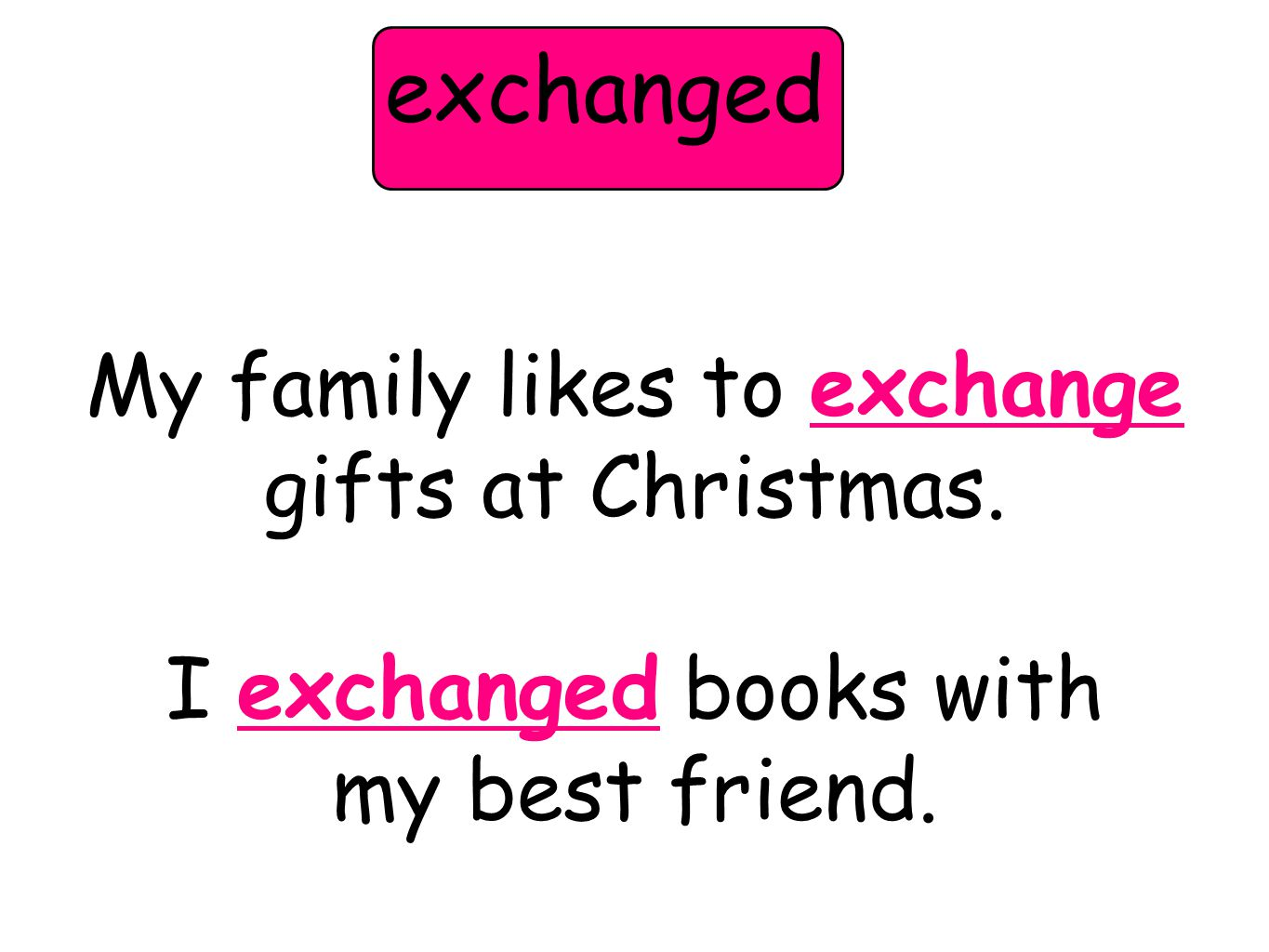 My family likes to exchange gifts at Christmas. I exchanged books with my best friend. exchanged