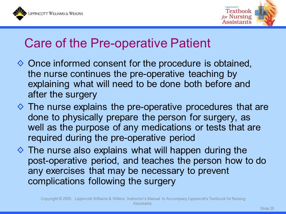 Slide 20 Copyright © 2005. Lippincott Williams & Wilkins. Instructor's Manual to Accompany Lippincott's Textbook for Nursing Assistants. Once informed