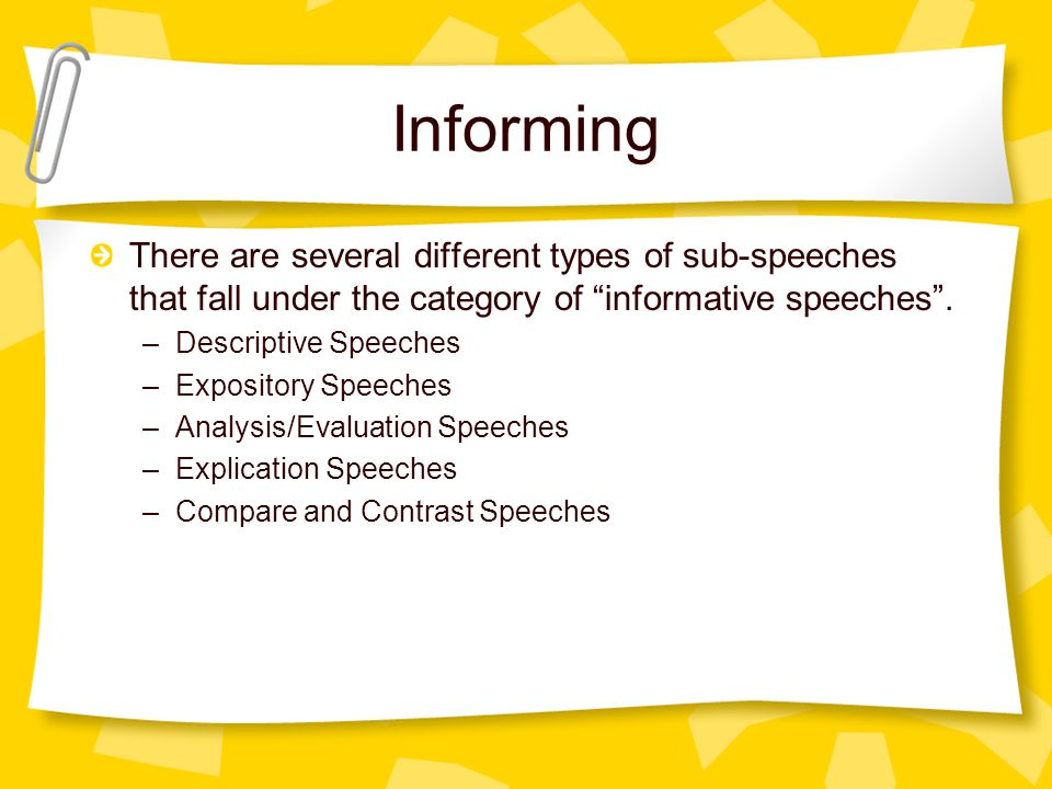 Informing There are several different types of sub-speeches that fall under the category of informative speeches .