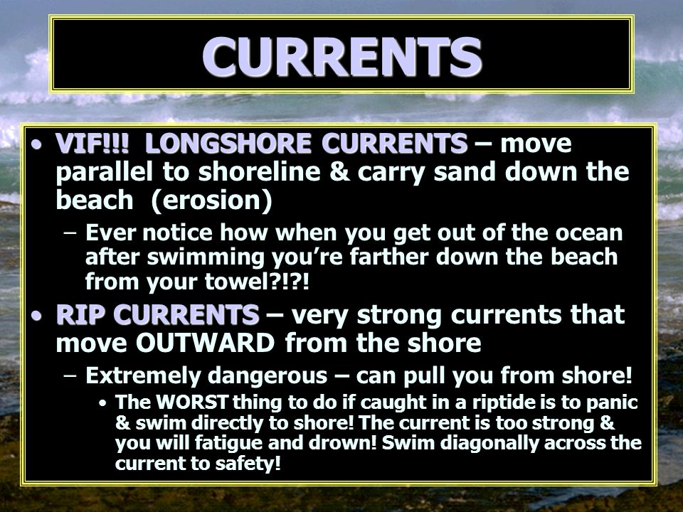 VIF!!! LONGSHORE CURRENTSVIF!!! LONGSHORE CURRENTS – move parallel to shoreline & carry sand down the beach (erosion) –Ever notice how when you get ou