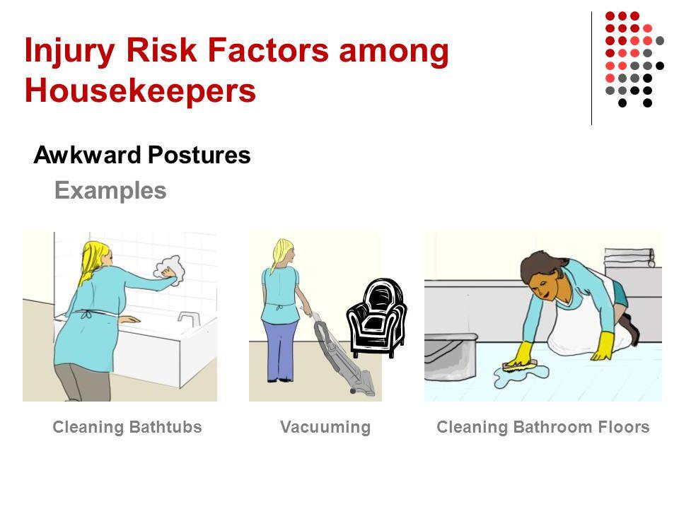 Injury Risk Factors among Housekeepers Awkward Postures Examples Cleaning BathtubsVacuumingCleaning Bathroom Floors