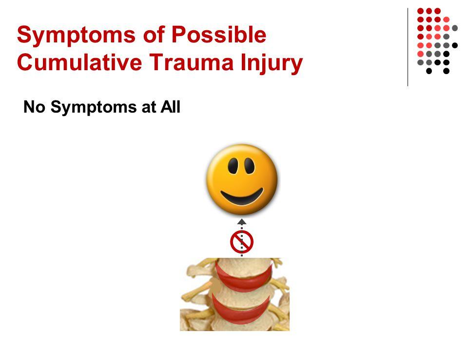 Symptoms of Possible Cumulative Trauma Injury No Symptoms at All