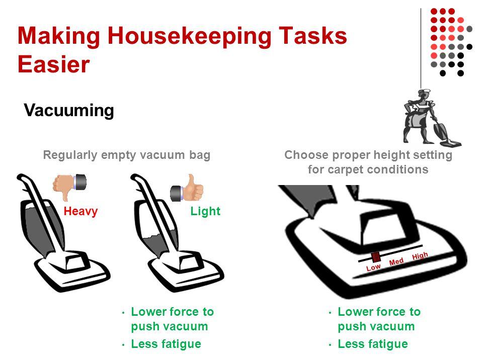 Making Housekeeping Tasks Easier Vacuuming Lower force to push vacuum Less fatigue Regularly empty vacuum bag HeavyLight Lower force to push vacuum Le
