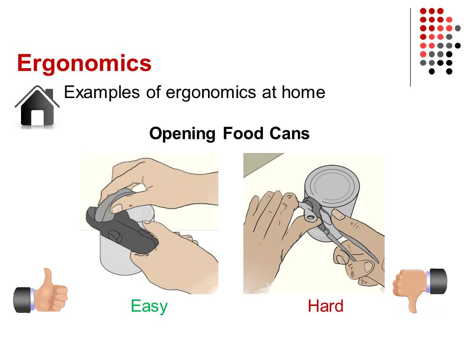 Ergonomics Examples of ergonomics at home Opening Food Cans EasyHard