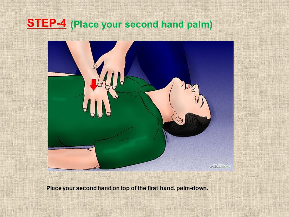 STEP-4 (Place your second hand palm) Place your second hand on top of the first hand, palm-down.