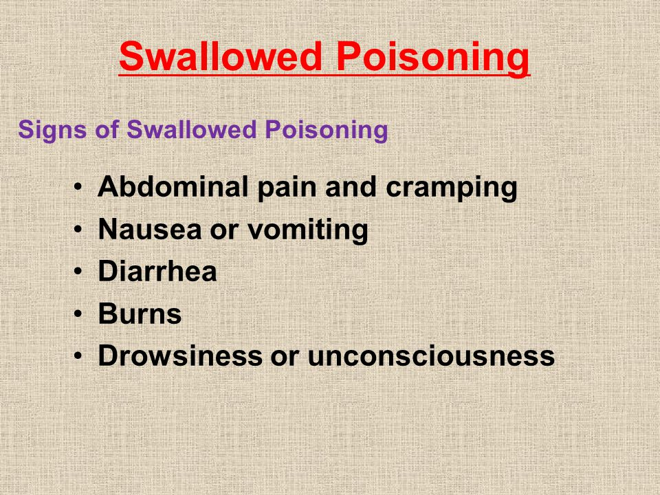 Swallowed Poisoning Abdominal pain and cramping Nausea or vomiting Diarrhea Burns Drowsiness or unconsciousness Signs of Swallowed Poisoning