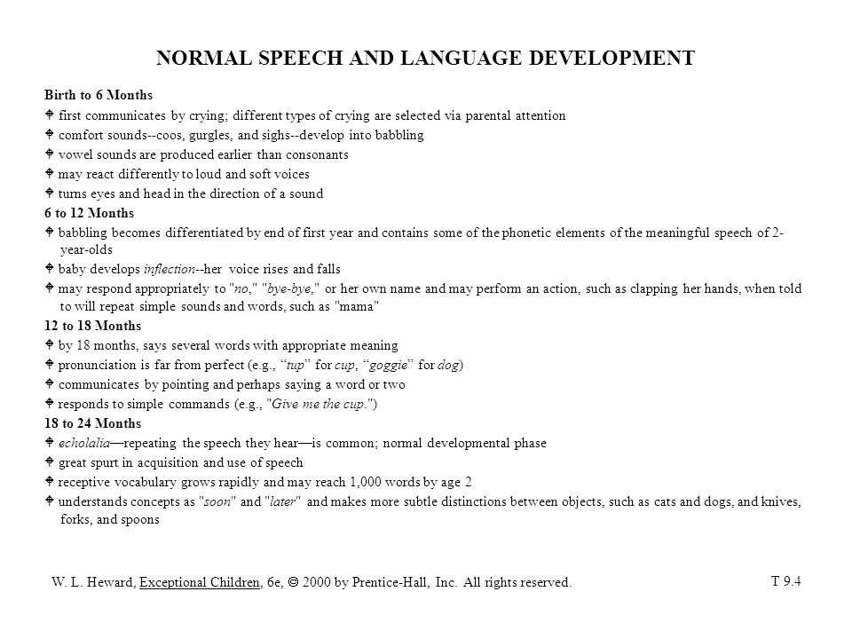 NORMAL SPEECH AND LANGUAGE DEVELOPMENT (con't) 2 to 3 Years W expressive vocabulary of up to 900 words, averaging 3 to 4 words per sentence W participates in conversations W identifies colors, uses plurals, and tells simple stories W follows compound commands (e.g., Pick up the doll and bring it to me. ) W uses most vowel sounds and some consonant sounds correctly 3 to 4 Years W has lots to say, speaks rapidly, and asks many questions W sentences become longer and more varied (e.g., Cindy s playing in water. ) W understands children s stories and concepts as funny, bigger, and secret W substitutes certain sounds, perhaps saying baf for bath, or yike for like.