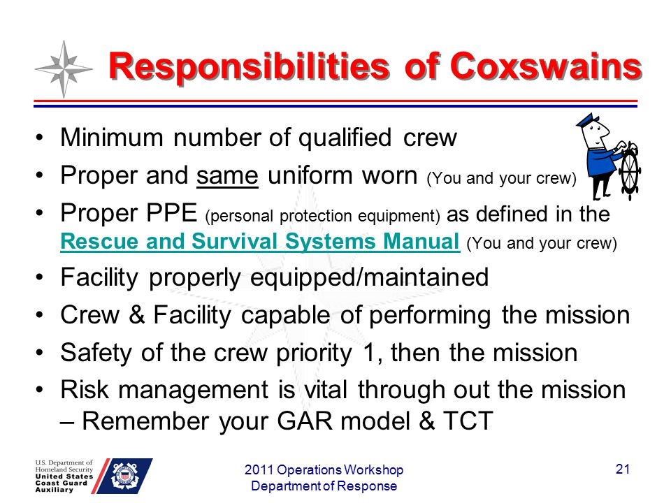 Responsibilities of Coxswains Minimum number of qualified crew Proper and same uniform worn (You and your crew) Proper PPE (personal protection equipm