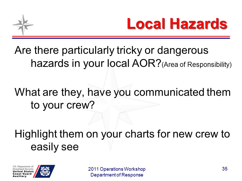 Local Hazards Are there particularly tricky or dangerous hazards in your local AOR? (Area of Responsibility) What are they, have you communicated them