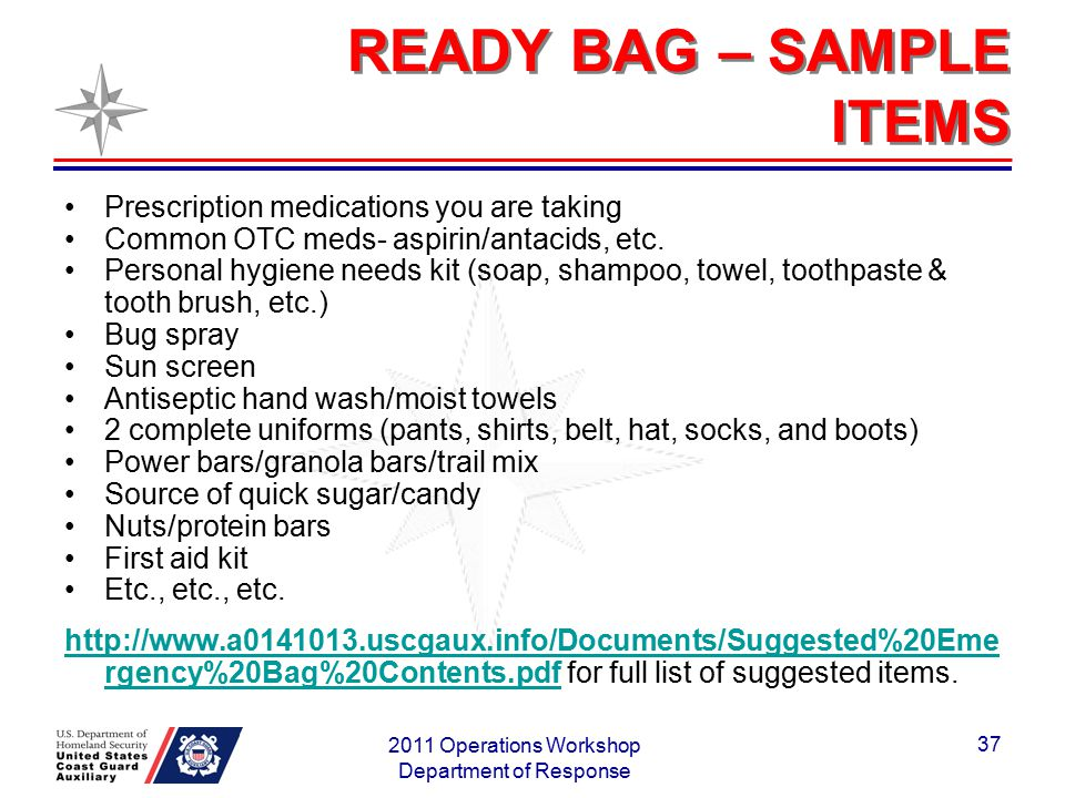 READY BAG – SAMPLE ITEMS Prescription medications you are taking Common OTC meds- aspirin/antacids, etc. Personal hygiene needs kit (soap, shampoo, to