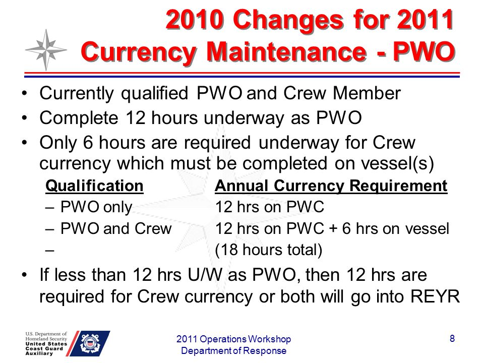 2010 Changes for 2011 Currency Maintenance - PWO Currently qualified PWO and Crew Member Complete 12 hours underway as PWO Only 6 hours are required u