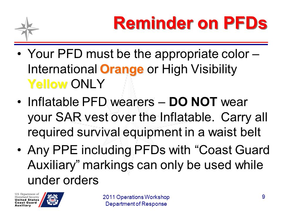 Reminder on PFDs Orange YellowYour PFD must be the appropriate color – International Orange or High Visibility Yellow ONLY Inflatable PFD wearers – DO