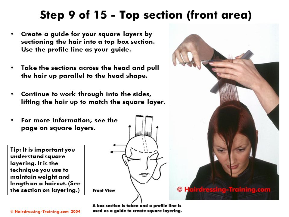 © Hairdressing-Training.com 2004 Step 9 of 15 - Top section (front area) Create a guide for your square layers by sectioning the hair into a top box s