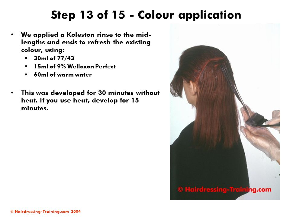 © Hairdressing-Training.com 2004 Step 13 of 15 - Colour application We applied a Koleston rinse to the mid- lengths and ends to refresh the existing c