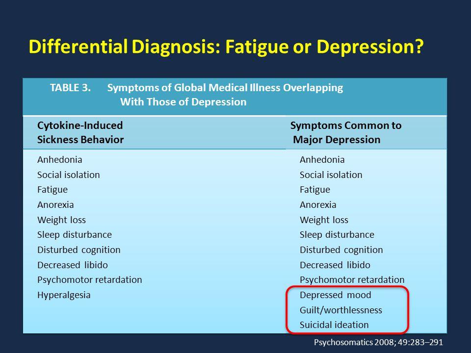 Differential Diagnosis: Fatigue or Depression? Psychosomatics 2008; 49:283–291