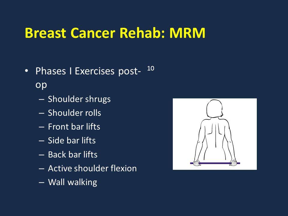 Breast Cancer Rehab: MRM Phases I Exercises post- op – Shoulder shrugs – Shoulder rolls – Front bar lifts – Side bar lifts – Back bar lifts – Active s