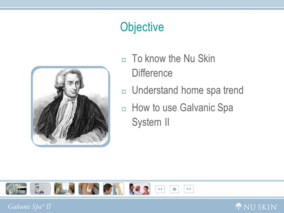 Objective  To know the Nu Skin Difference  Understand home spa trend  How to use Galvanic Spa System II