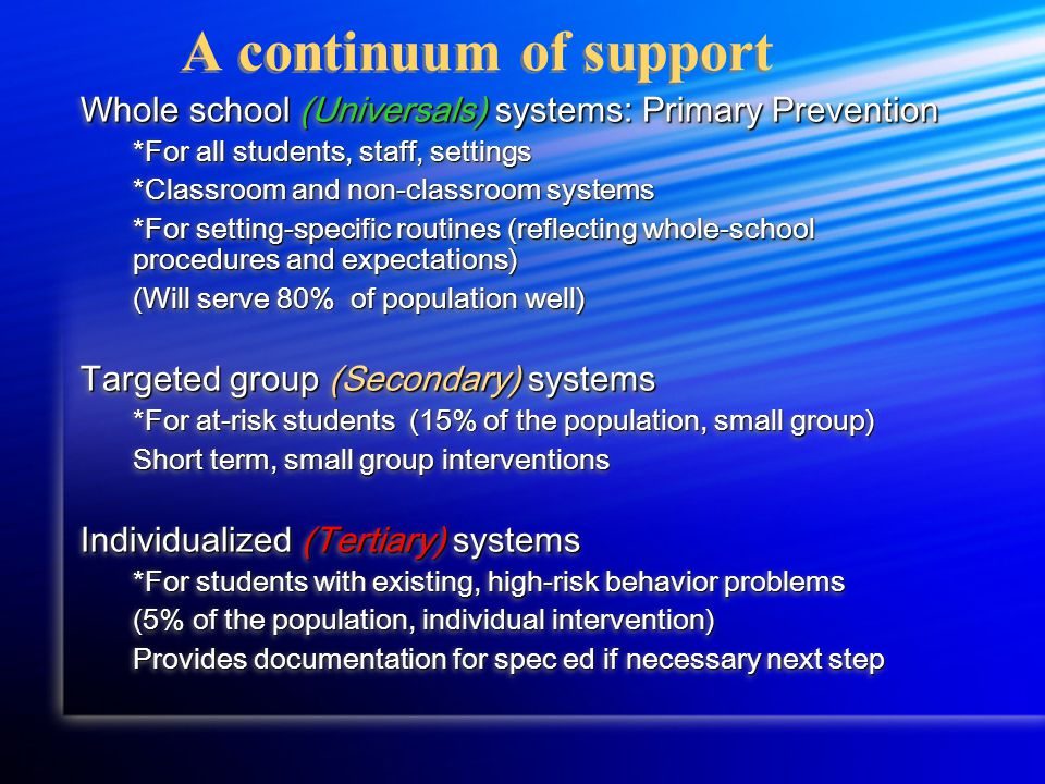 A continuum of support Whole school (Universals) systems: Primary Prevention *For all students, staff, settings *Classroom and non-classroom systems *For setting-specific routines (reflecting whole-school procedures and expectations) (Will serve 80% of population well) Targeted group (Secondary) systems *For at-risk students (15% of the population, small group) Short term, small group interventions Individualized (Tertiary) systems *For students with existing, high-risk behavior problems (5% of the population, individual intervention) Provides documentation for spec ed if necessary next step Whole school (Universals) systems: Primary Prevention *For all students, staff, settings *Classroom and non-classroom systems *For setting-specific routines (reflecting whole-school procedures and expectations) (Will serve 80% of population well) Targeted group (Secondary) systems *For at-risk students (15% of the population, small group) Short term, small group interventions Individualized (Tertiary) systems *For students with existing, high-risk behavior problems (5% of the population, individual intervention) Provides documentation for spec ed if necessary next step