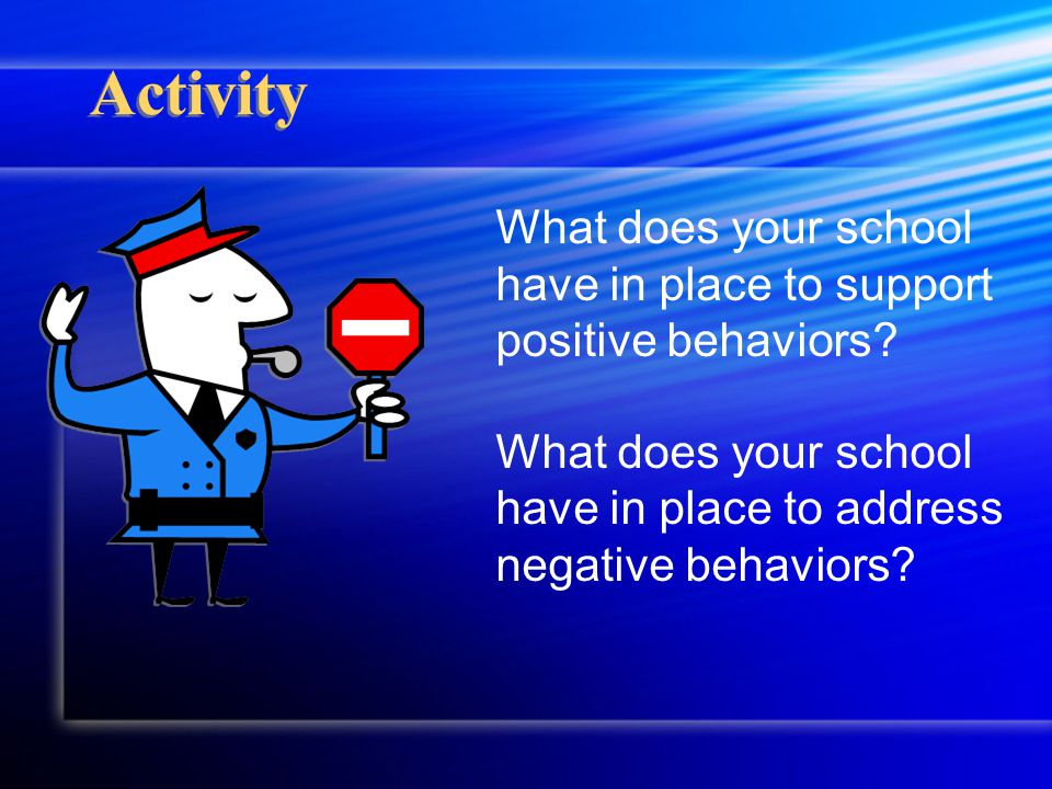 Activity What does your school have in place to support positive behaviors.