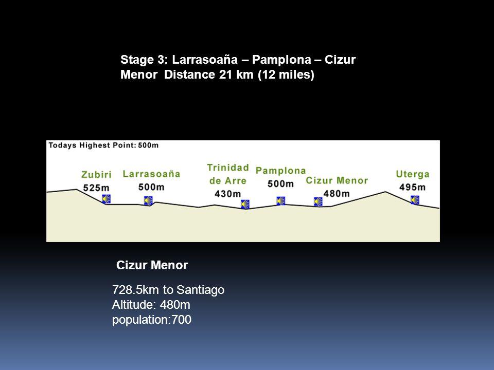 Stage 3: Larrasoaña – Pamplona – Cizur Menor Distance 21 km (12 miles) 728.5km to Santiago Altitude: 480m population:700 Cizur Menor